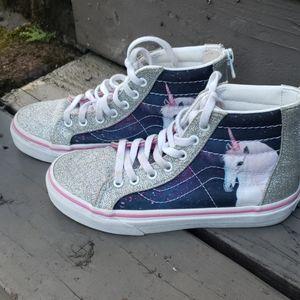 Vans kids pink and white glitter unicorn shoes